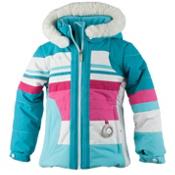 Obermeyer Snowdrop Faux Fur Toddler Girls Ski Jacket, Blue Reef, medium