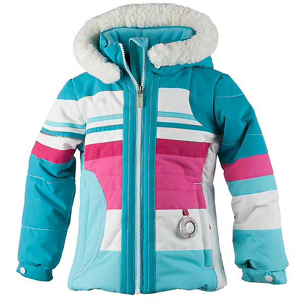 Obermeyer Snowdrop Faux Fur Toddler Girls Ski Jacket, Blue Reef, 600