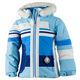 Obermeyer Snowdrop Faux Fur Toddler Girls Ski Jacket, Bleu Sky, 256