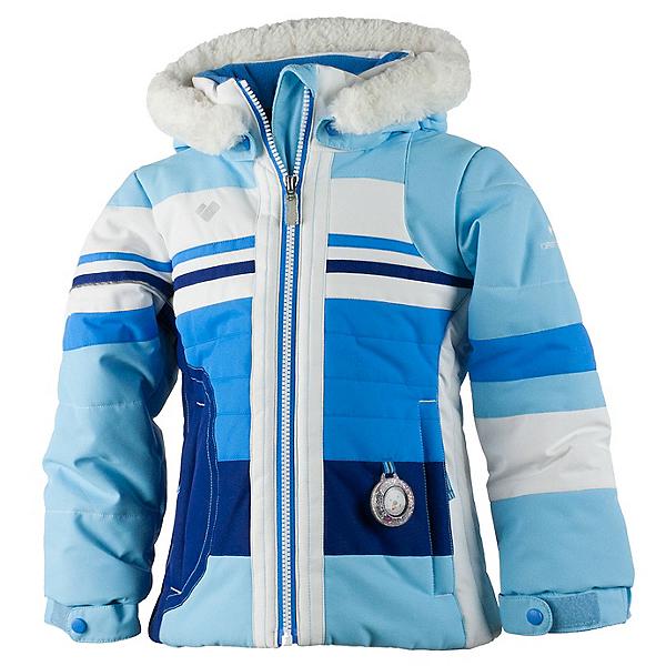 Obermeyer Snowdrop Faux Fur Toddler Girls Ski Jacket, Bleu Sky, 600