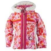 Obermeyer Snowdrop Faux Fur Toddler Girls Ski Jacket, Heart Gingham, medium