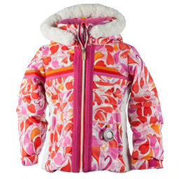 Obermeyer Snowdrop Faux Fur Toddler Girls Ski Jacket, Heart Gingham, 256