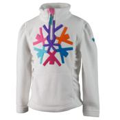 Obermeyer Snowcrystal Fleece Toddler Girls Midlayer, White, medium