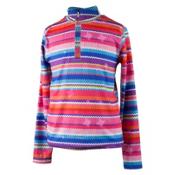 Obermeyer Wildcat Sport 75WT Teen Girls Long Underwear Top, Scribble Stripe, medium