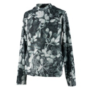 Obermeyer Trestle Sport 75WT Crew Teen Girls Long Underwear Top, Blackout Floral, medium