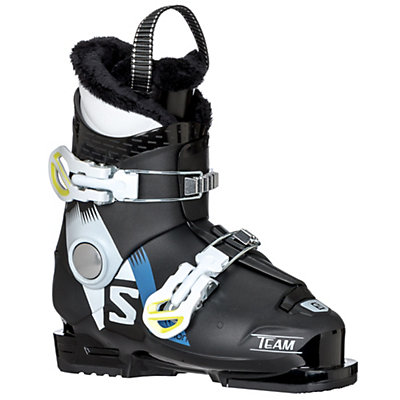 Salomon Team T2 Kids Ski Boots 2017, Black-White-Acide Green, viewer