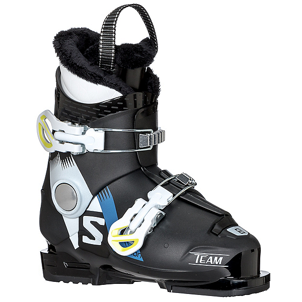 Salomon Team T2 Kids Ski Boots 2018, Black-White-Acide Green, 600