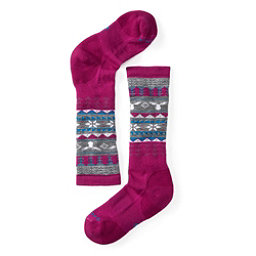 SmartWool Wintersport Fairisle Moose Girls Ski Socks, Berry, 256