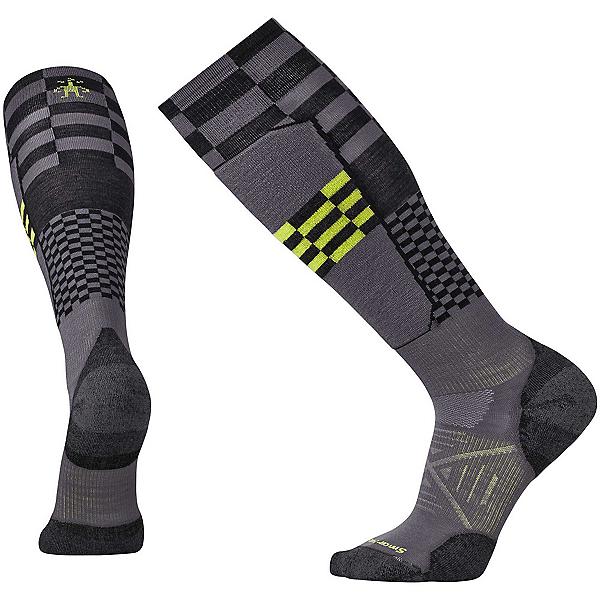 SmartWool PhD Ski Light Elite Pattern Ski Socks, Graphite, 600