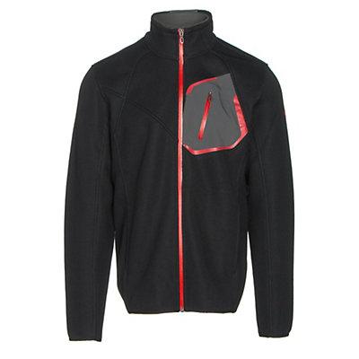 Spyder Paramount Full Zip Mens Sweater, Black-Polar-Red, viewer