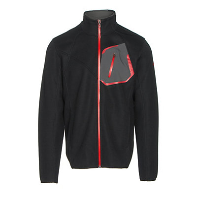 Spyder Paramount Full Zip Mens Sweater, Black-Polar-Red, viewer