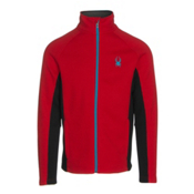 Spyder Constant Full Zip Tailored Mens Sweater, Red-Black-Electric Blue, medium