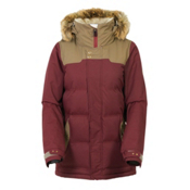 686 Authentic Runway with Faux Fur Womens Insulated Snowboard Jacket, Tobacco Herringbone, medium