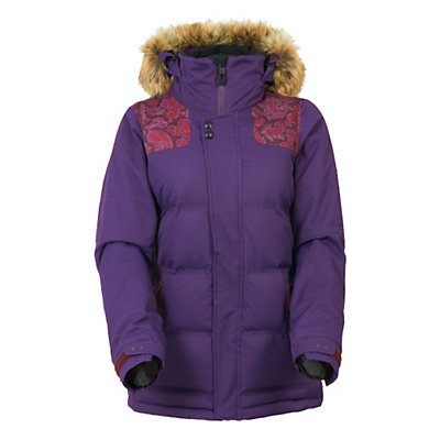 686 Authentic Runway with Faux Fur Womens Insulated Snowboard Jacket, Wine Paisley Herringbone, viewer
