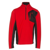 Spyder Bandit Half Zip Mens Sweater, Red-Black, medium