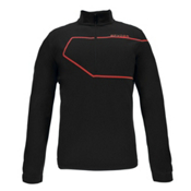 Spyder Commander Therma Stretch Mens Mid Layer, Black-Red, medium