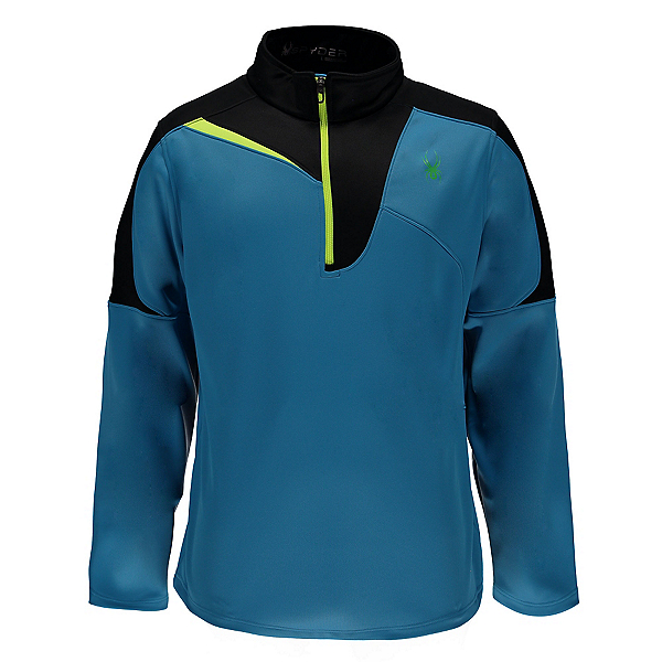 Spyder Charger Therma Stretch Mens Mid Layer (Previous Season), Electric Blue-Black-Bryte Yellow, 600