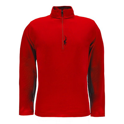 Spyder Buckhorn T-Neck Mens Mid Layer, Red-Black, viewer