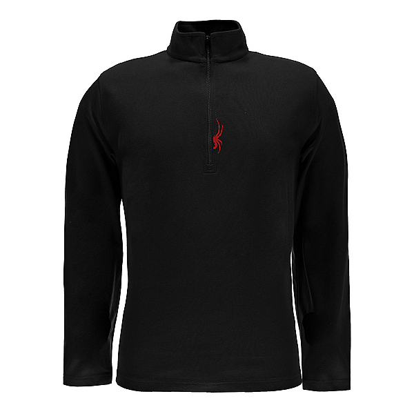 Spyder Buckhorn T-Neck Mens Mid Layer, Black-Red, 600