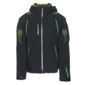 Spyder Pinnacle Mens Insulated Ski Jacket, Black-Blade-Bryte Yellow, medium