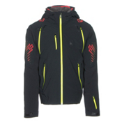Spyder Pinnacle Mens Insulated Ski Jacket, Black-Red-Bryte Yellow, medium