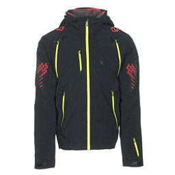 Spyder Pinnacle Mens Insulated Ski Jacket, Black-Red-Bryte Yellow, 256