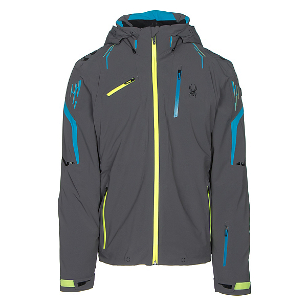 Spyder Monterosa Mens Insulated Ski Jacket, Polar-Electric Blue-Bryte Yellow, 600