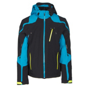 Spyder Bromont Mens Insulated Ski Jacket, Black-Electric Blue-Bryte Yellow, medium