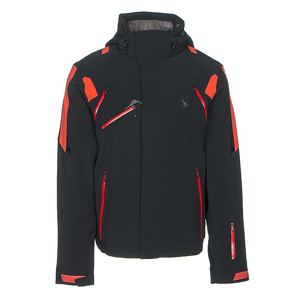 Spyder Garmisch Mens Insulated Ski Jacket, Black-Rage-Red, 600