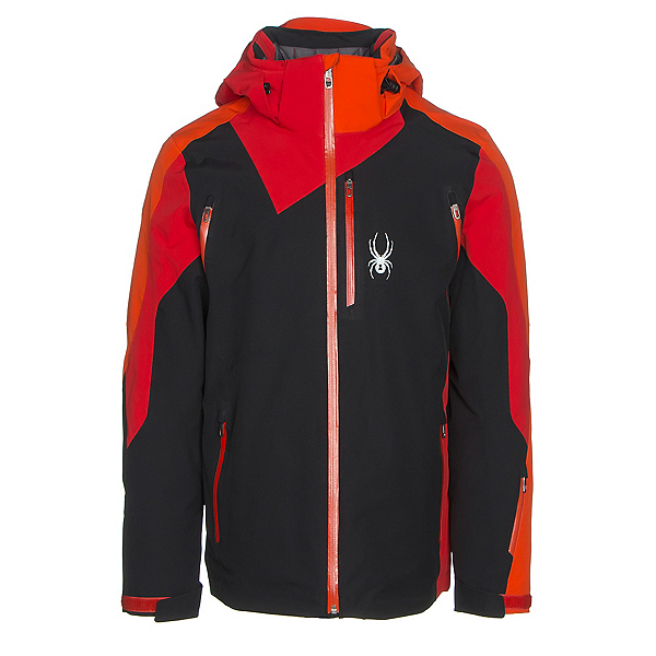 Spyder Vyper Mens Insulated Ski Jacket, Black-Red-Rage, 600