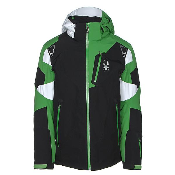Spyder Leader Mens Insulated Ski Jacket, Black-Blade-White, 600
