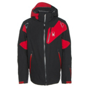 Spyder Leader Mens Insulated Ski Jacket, Black-Black-Red, medium