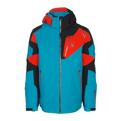 Spyder Leader Mens Insulated Ski Jacket, Electric Blue-Black-Rage, medium