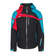 Spyder Titan Mens Insulated Ski Jacket, Black-Electric Blue-Red, medium