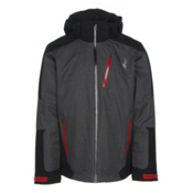 Spyder Chambers Mens Insulated Ski Jacket, Polar Crosshatch-Black-Red, medium