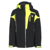 Spyder Cannon Mens Insulated Ski Jacket, Black-Bryte Yellow-Polar, medium