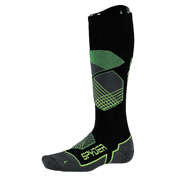Spyder Explorer Ski Socks, Black-Blade-Bryte Yellow, 600