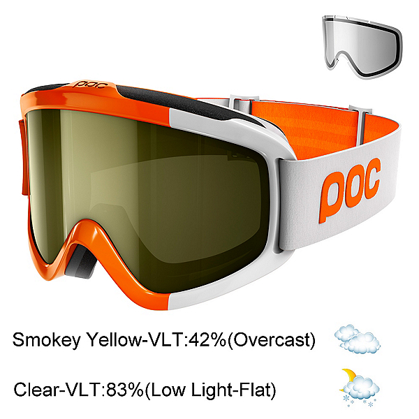 POC Iris Comp SML Goggles 2018, Zink Orange-Smokey Yellow Tran + Bonus Lens, 600