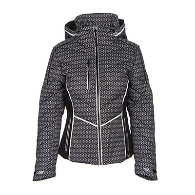 NILS Flo Womens Insulated Ski Jacket, Velocity Print-Black-White, viewer