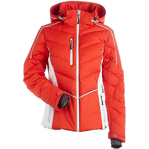 NILS Flo Womens Insulated Ski Jacket, Burnt Orange-White-Silver, 600