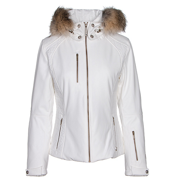 NILS Josephine Fur Womens Insulated Ski Jacket, White, 600