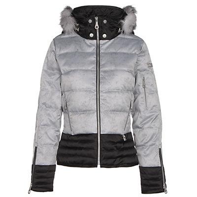 NILS Liv Fur Womens Insulated Ski Jacket, Silver Mist Print-Black, viewer