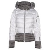NILS Liv Fur Womens Insulated Ski Jacket, White-Pewter, medium