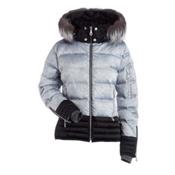 NILS Liv Fur Womens Insulated Ski Jacket, Silver Mist Print-Black, medium
