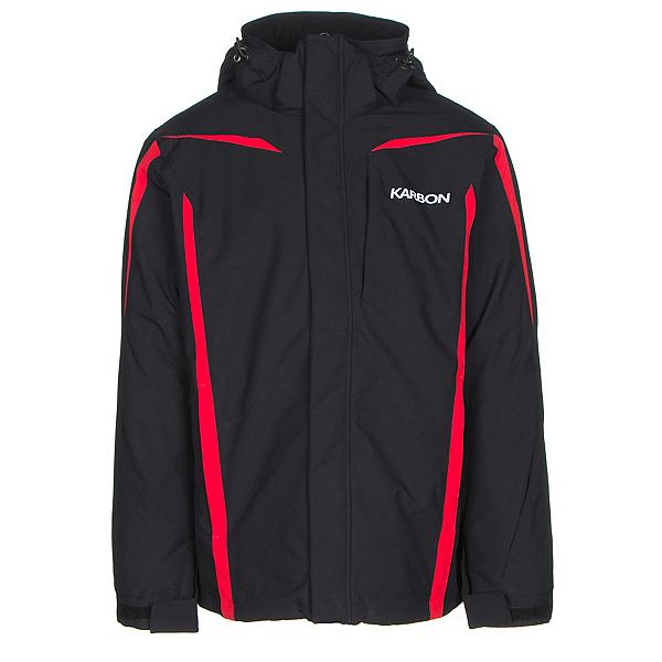 Karbon Saturn Mens Insulated Ski Jacket, Black-Black-Red, 600