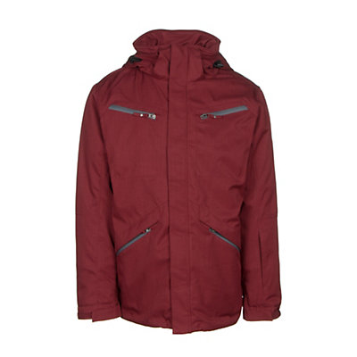 Karbon Silica Mens Insulated Ski Jacket, Burgundy-Charcoal-Black, viewer