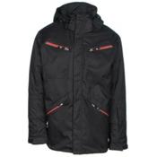 Karbon Silica Mens Insulated Ski Jacket, Black-Burgundy-Charcoal, medium