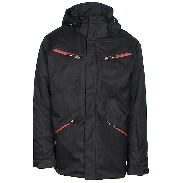 Karbon Silica Mens Insulated Ski Jacket, Black-Burgundy-Charcoal, 600