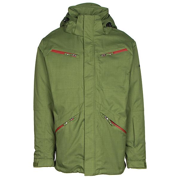 Karbon Silica Mens Insulated Ski Jacket, Chive-Burgundy-Black, 600