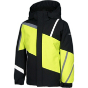 Karbon Jester Boys Ski Jacket, Black-Lime-Smoke-Arctic White, medium